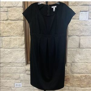 Liz Lange Maternity Black Dress Pleated Front S/P